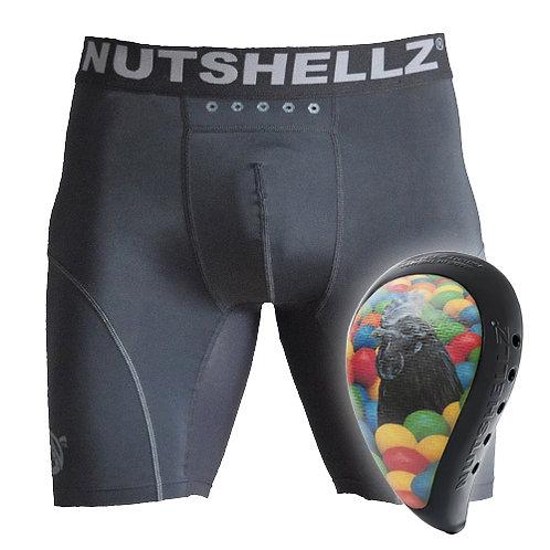 Nutshellz®  LEVEL 1 BLACK COCK AND BALLS BLACK SURROUND AND JOCK SHORT COMBO