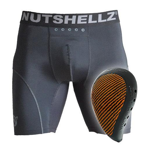 Nutshellz® LEVEL 1  BLACK AND ORANGE CARBON AND JOCK SHORT COMBO