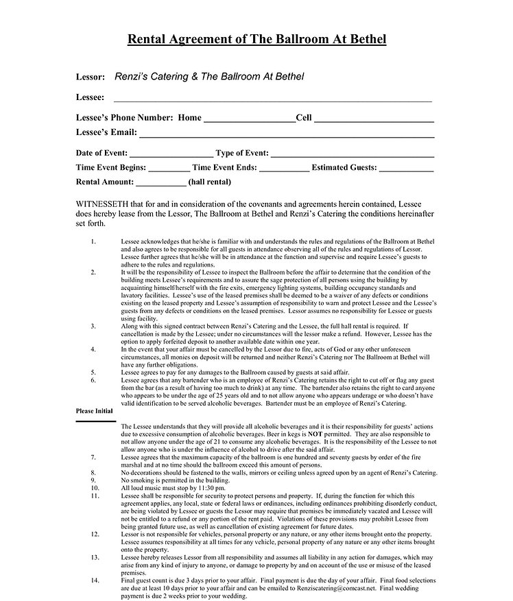 Rental Agreement of The Ballroom At Beth