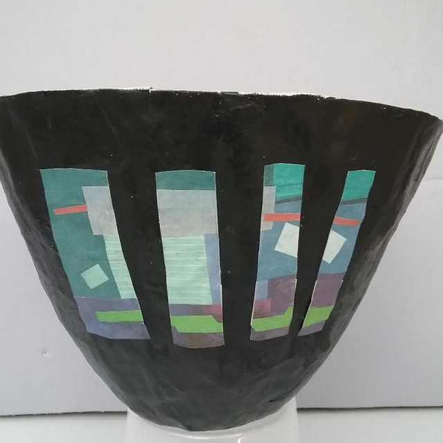 Paper Bowl with Blue Design