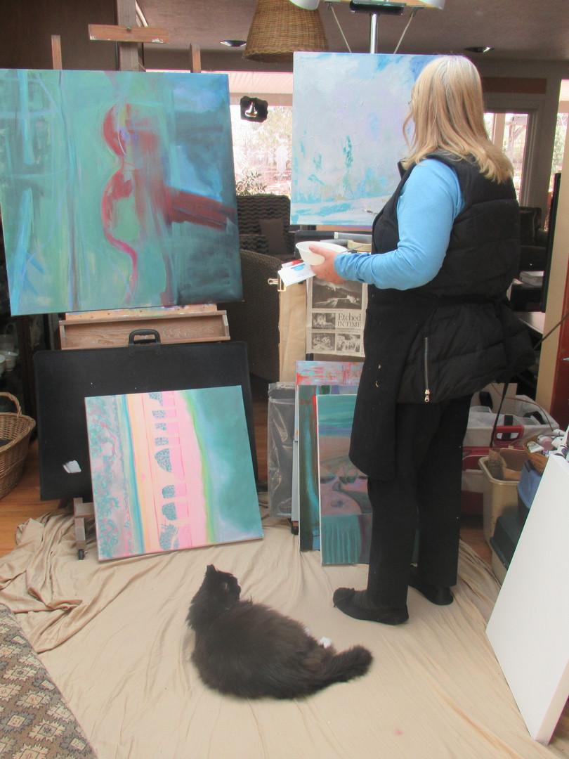 Lisa Painting in her Studio