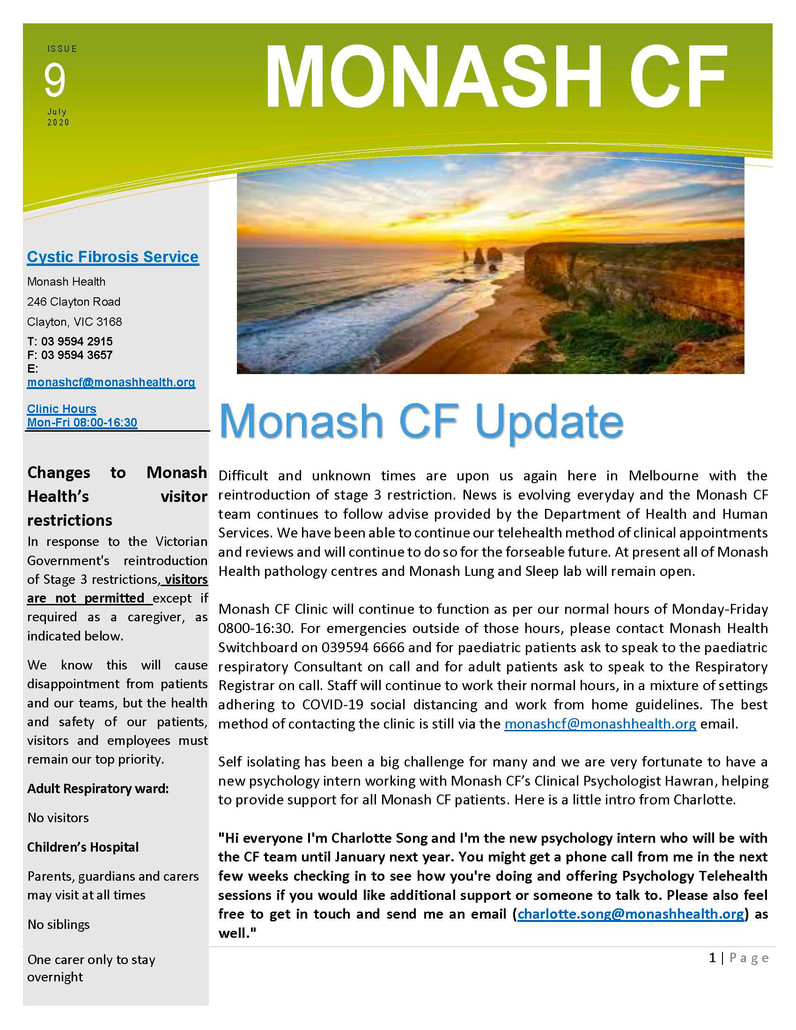 Monash CF Service - COVID 19 UPDATE Vol 9