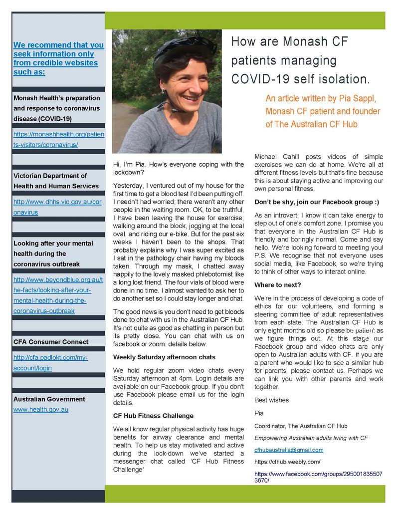 Monash CF Service - COVID 19 UPDATE Vol 8