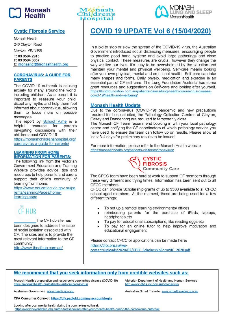 Monash CF Service - COVID 19 UPDATE Vol 6