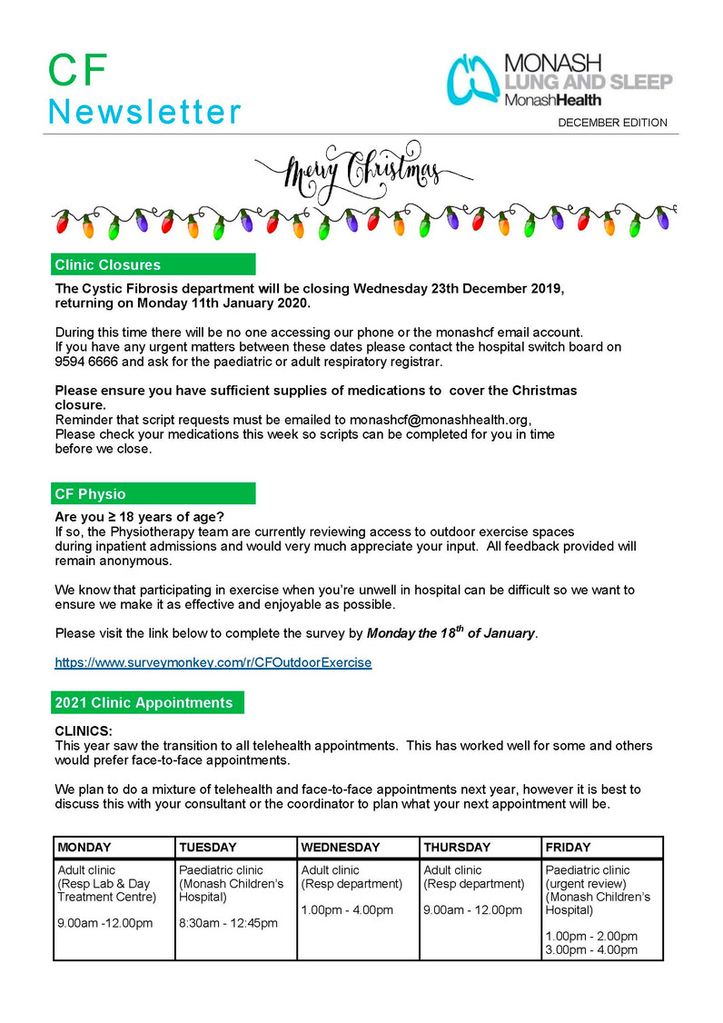 Monash CF Service December Newsletter