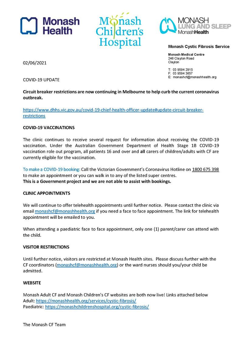 Monash CF Service COVID Update 2 June 2021