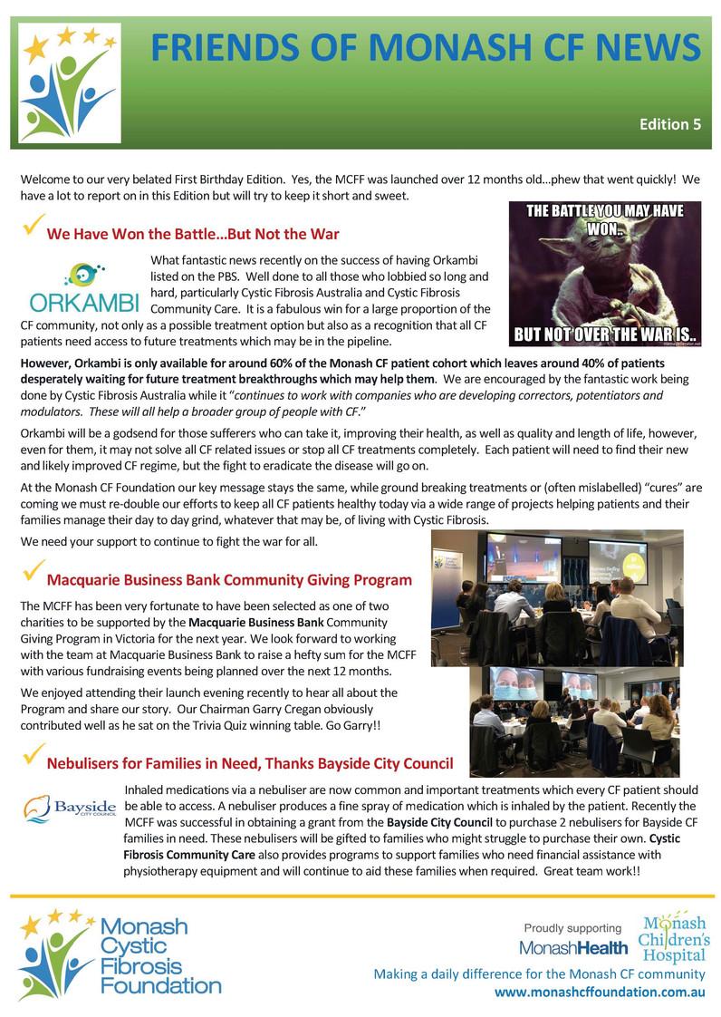 Friends of Monash CF News - Edition 5