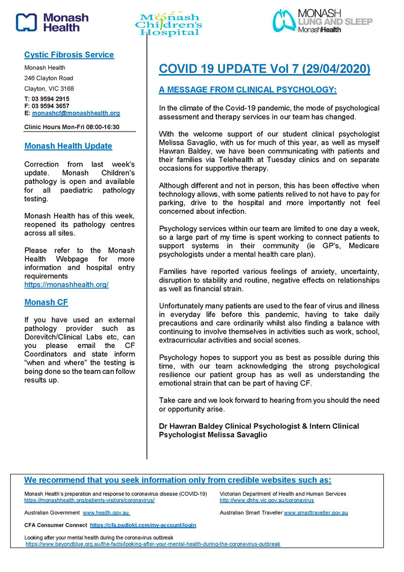 Monash CF Service - COVID 19 UPDATE Vol 7