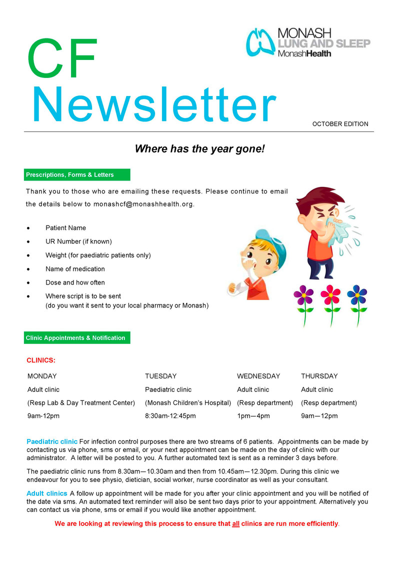 Monash CF Team - October Newsletter