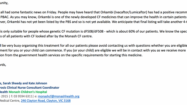 Message from Monash CF Team re: Orkmabi (ivacaftor/lumicaftor)