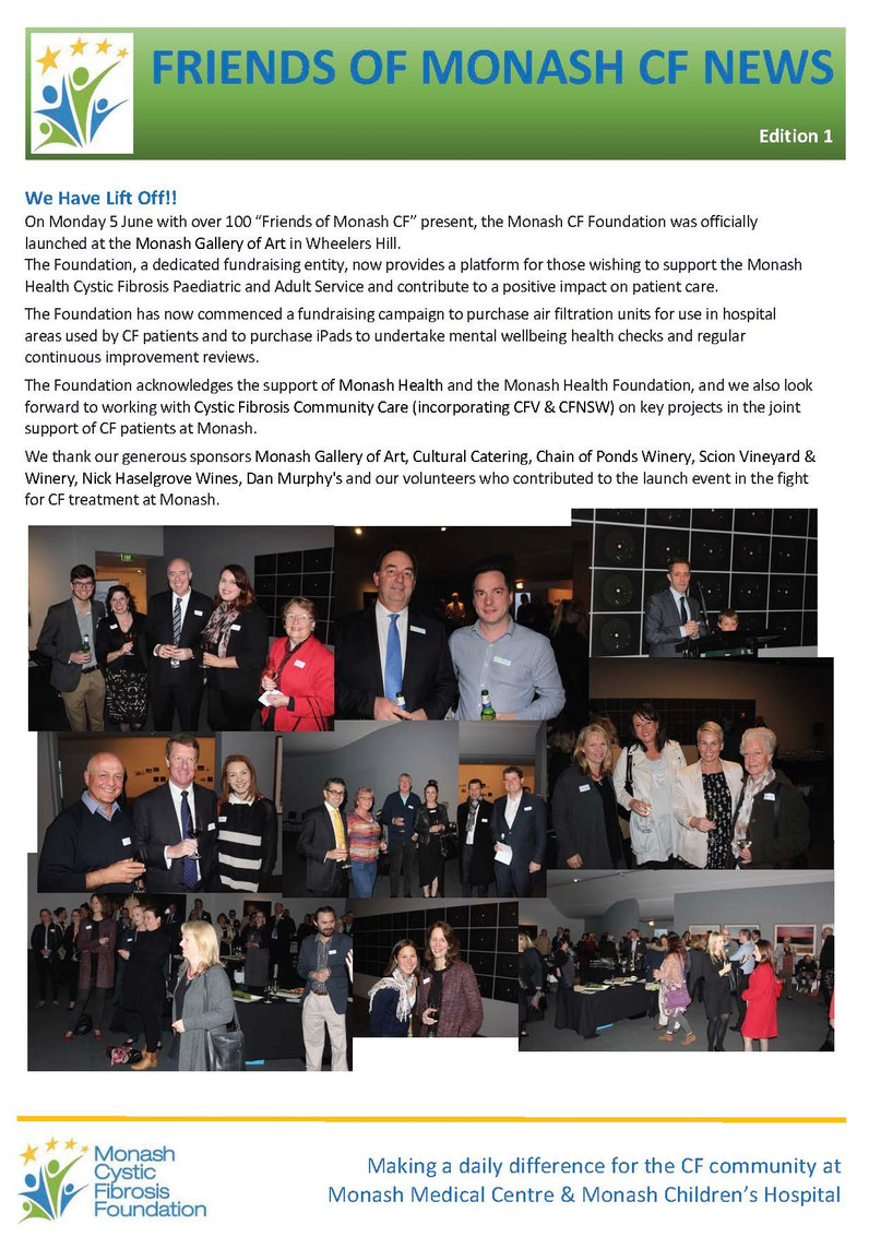 Friends of Monash CF News - Edition 1