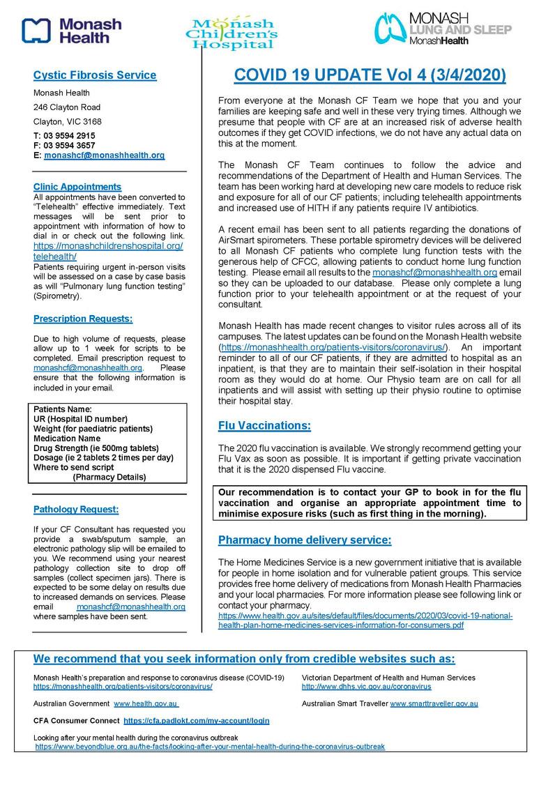 Monash CF Service - COVID 19 UPDATE Vol 4