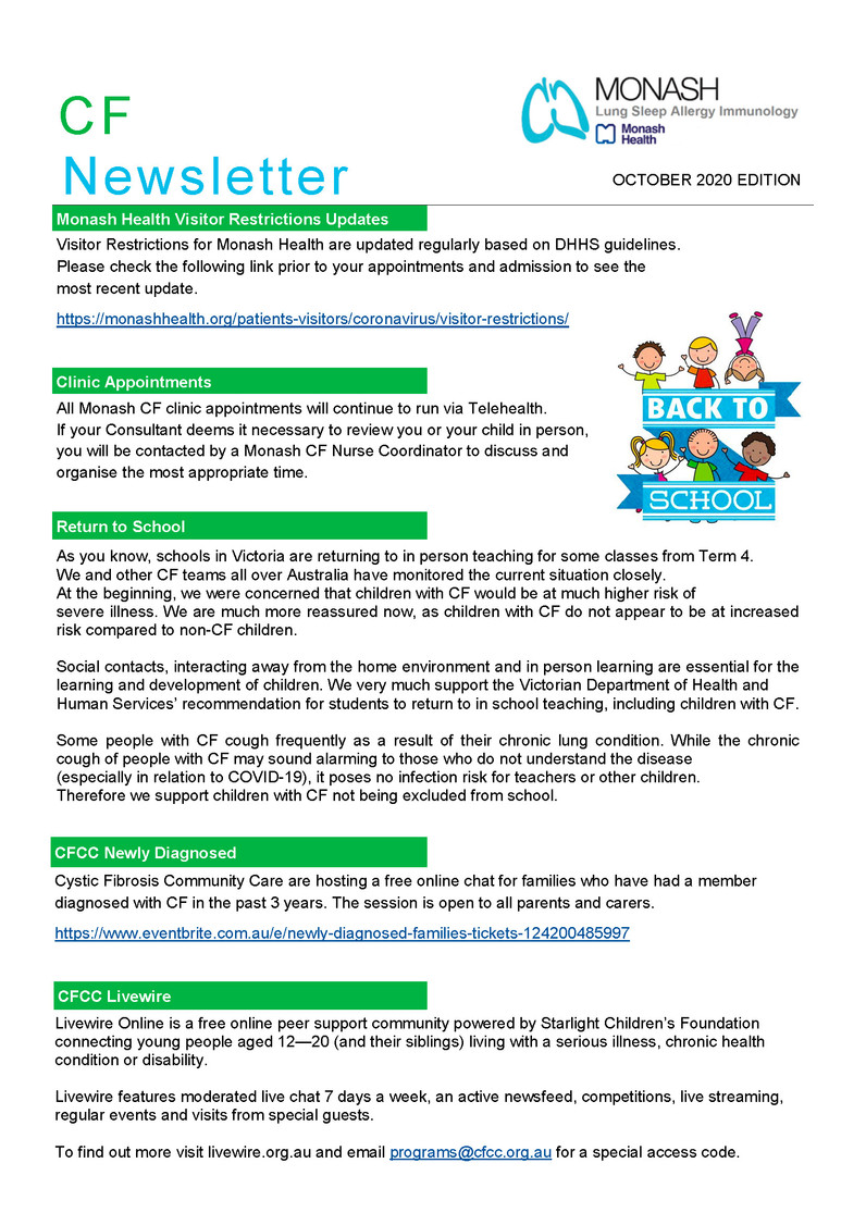 Monash CF Service - October 2020 Newsletter