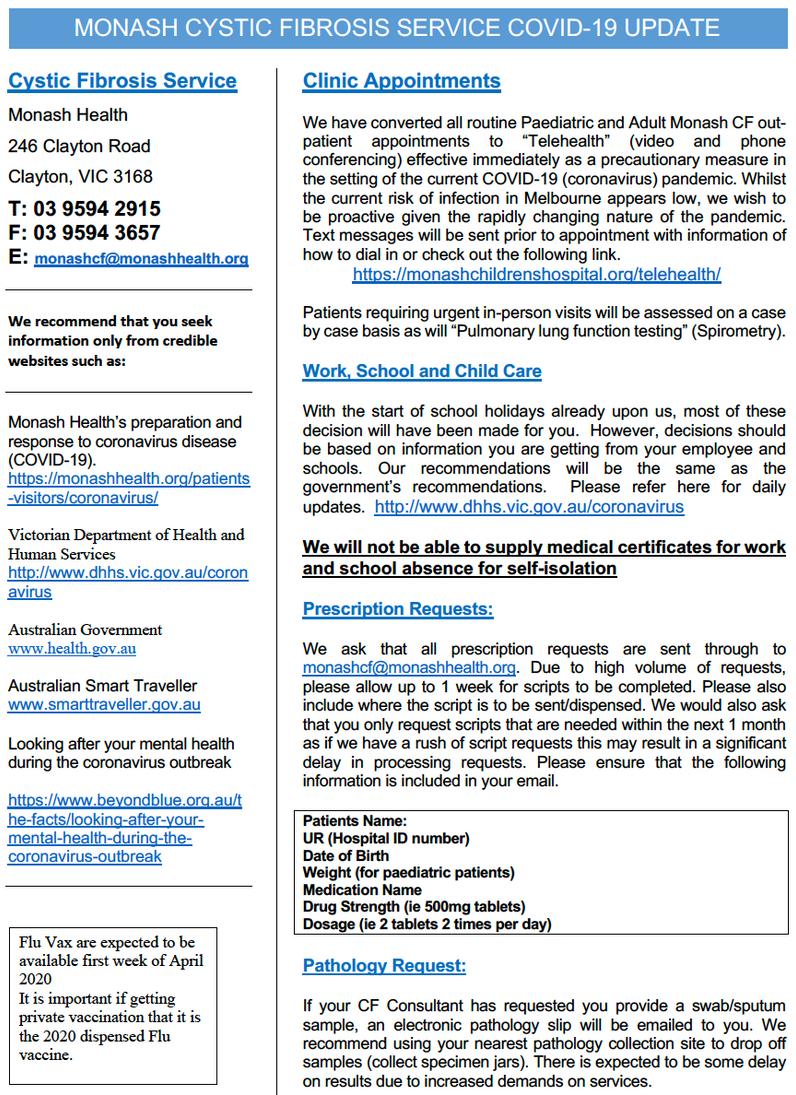 Monash Health and CFA coronavirus update