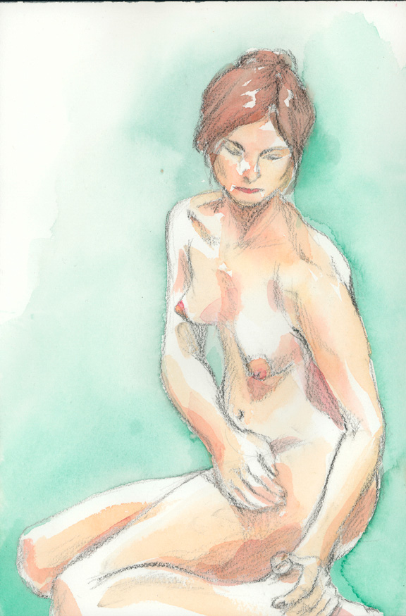 nude seated half turn