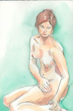 nude seated half turn