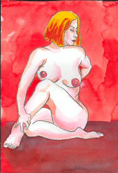 nude sketch vibrant scarlet
