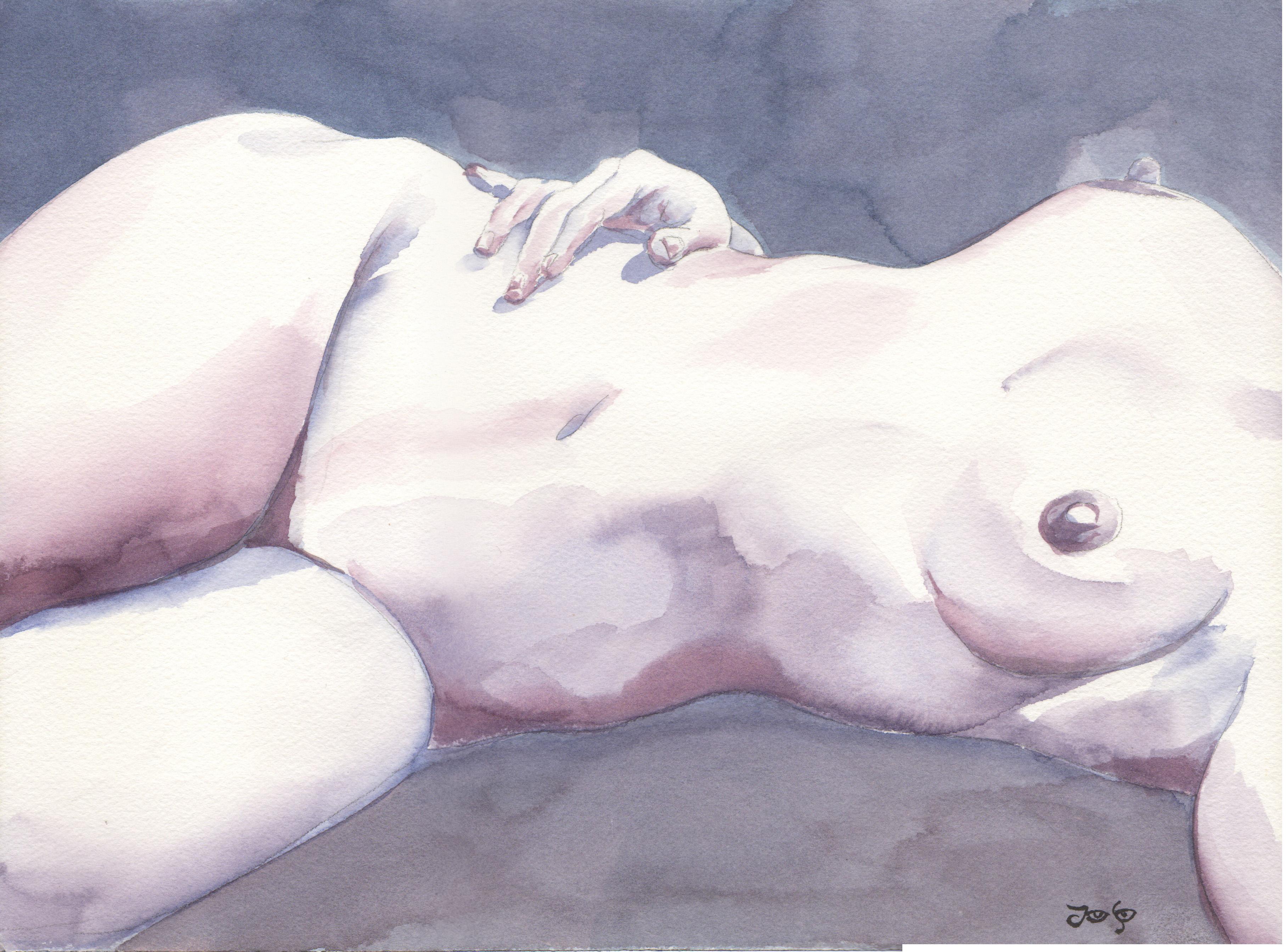 nude torso reclined hand b