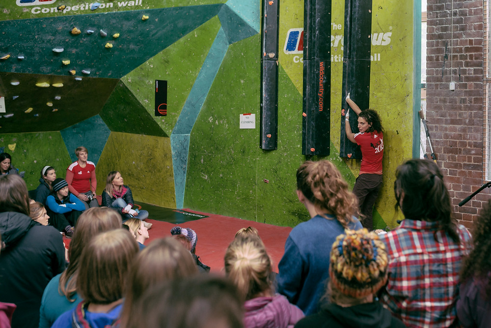 Naomi Buys talks jammin' in the Crack Climbing Workshop at WCS15