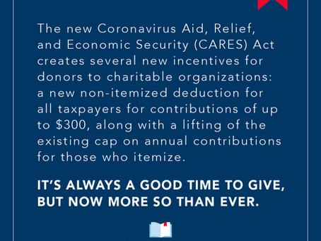 C.A.R.E.S. Act Contains New Incentives for Charitable Giving