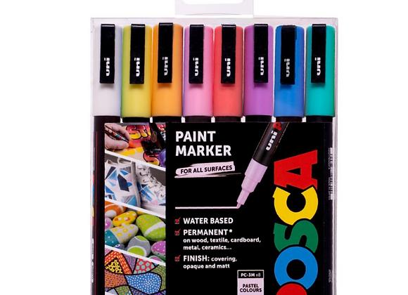 Posca PC-3M Markers 8 Piece Pastel Set