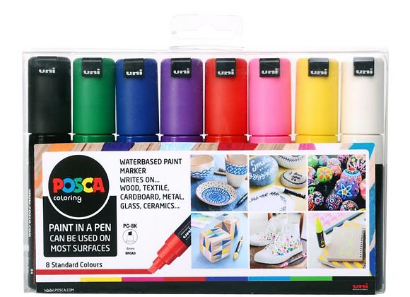 Posca PC-8K 8mm Bold Tip Markers 8 Piece Set