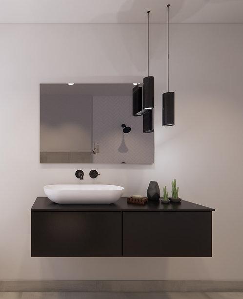 Spiegel rechthoek zonder rand op geborsteld aluminium frame 100x70 cm
