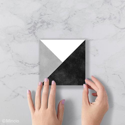 Zwart wit grijs vlak patroon 15 x 15 wandtegels / vloertegels