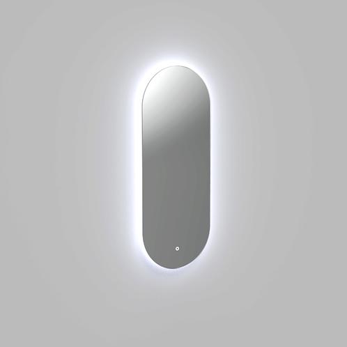 Spiegel ovaal met indirecte verlichting in twee verticale formaten