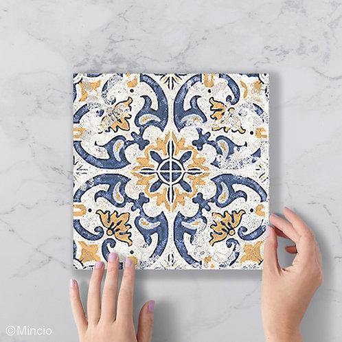 Patroon tegels 20x20 porto blauw geel wandtegels / vloertegels