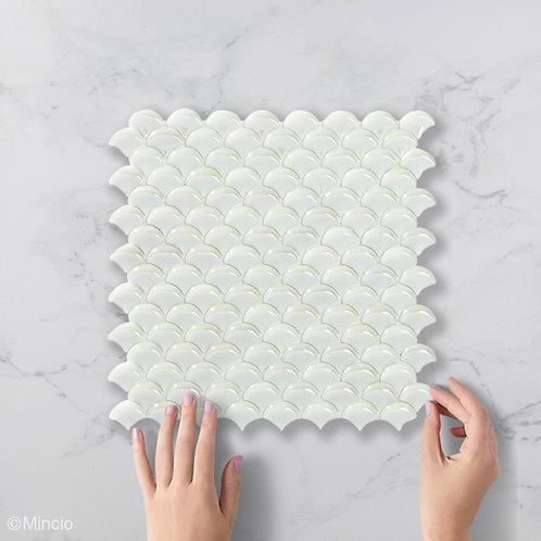 Witte visschub glasmozaïek 36 x 29 mm tegels