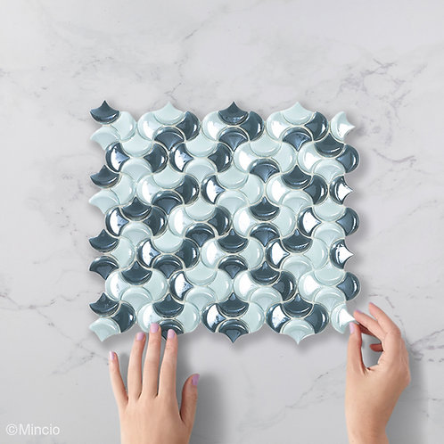 Ornament blend visschub glasmozaïek 36 x 29 mm tegels