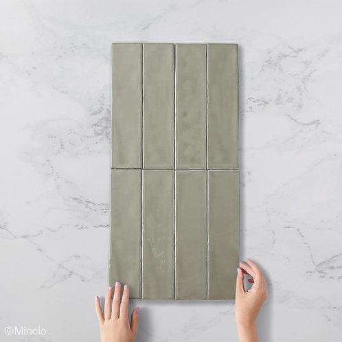Handvorm metrotegels olijf glans groene 7.5x30 visgraat wandtegels