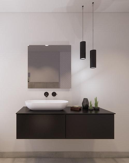 Spiegel vierkant zonder rand op geborsteld aluminium frame 70x70 cm