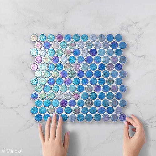 Paars blauwe cirkel glasmozaïek 25 x 25 mm tegels