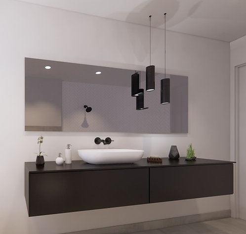 Spiegel rechthoek zonder rand op geborsteld aluminium frame 200x70 cm