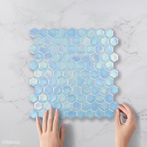 Lucht blauwe hexagon glasmozaïek 35 x 35 mm tegels