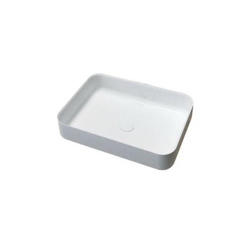 Waskom 55 x 40 x 13 cm rechthoek mat wit solid surface