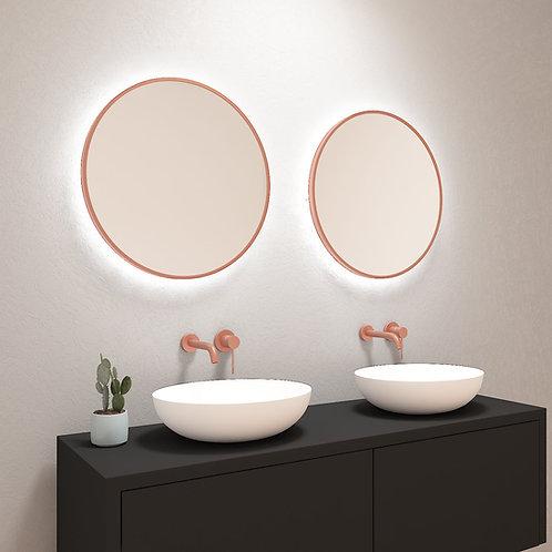 Ronde spiegel met mat rosé-gouden rand incl. led verlichting 60 cm