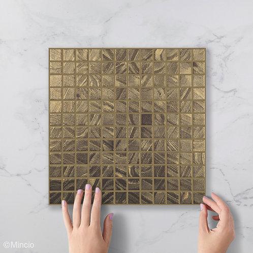 Satijn goud glasmozaïek 25 x 25 mm tegels