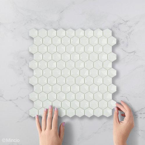 Matt witte hexagon 3D glasmozaïek 35 x 35 mm tegels