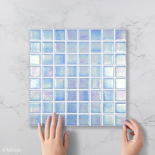 Azuurblauw vierkante glasmozaïek 38 x 38 mm tegels
