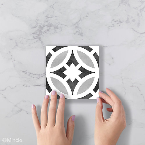 Zwart wit grijs rond patroon 15 x 15 wandtegels / vloertegels
