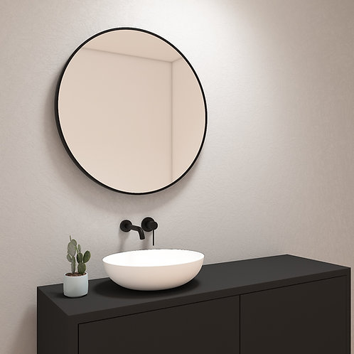 Ronde spiegel met mat zwarte rand zonder verlichting 80 cm