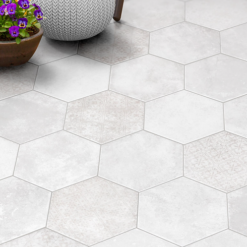 Licht grijze hexagon decor 20x24 vloer- en wandtegel