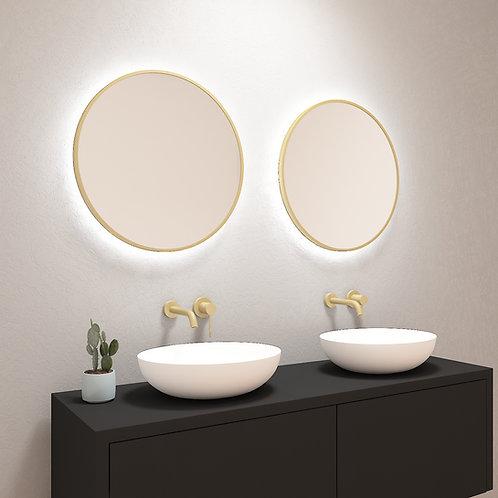 Ronde spiegel met mat gouden rand incl. led verlichting 60 cm