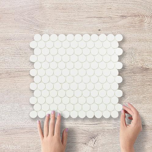 Mat witte cirkel glasmozaïek 25 x 25 mm tegels