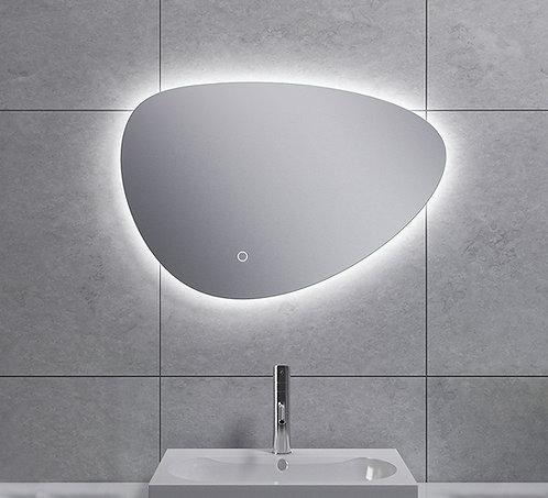 Spiegel asymmetrisch met indirecte dimbare verlichting en spiegelverwarming 60cm