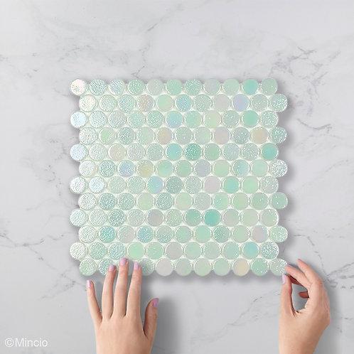 Mint groene cirkel glasmozaïek 25 x 25 mm tegels