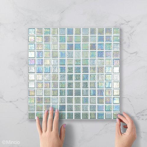 Kristal parelmoer vierkante glasmozaïek 25 x 25 mm tegels